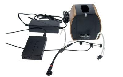 Hodebøylemikrofon mod. 1 med sender og lader